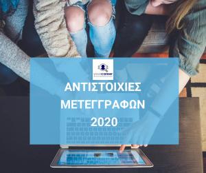 ΑΝΤΙΣΤΟΙΧΙΕΣ ΜΕΤΕΓΓΡΑΦΩΝ 2020-2021